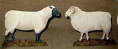 FOLK ART~Darling PAIR OF HAND PAINTED AND HAND MADE WOODEN SHEEP~RAM & EWE