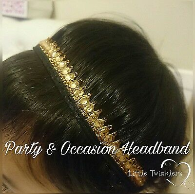 Baby Girl Diamante Headbands New Born Toddler Handmade Accessories Gold Black