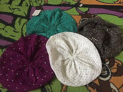 Youth Girls  Winter Beanie Hats Lot Of 4 New And Colorful With Dazzle