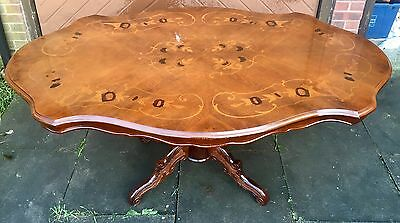 Antique Style Italian Inlaid Dining Table With Carved Base