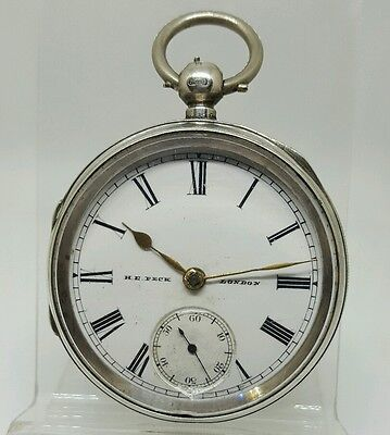 Nice antique solid silver gents H.E. PECK LONDON pocket watch 1897