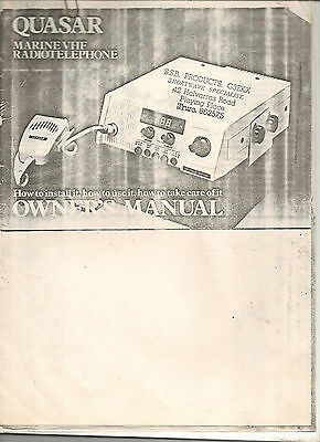 quasar marine VHF radiotelephone  Owners MANUAL Installation, specs MOBILE 12 pg