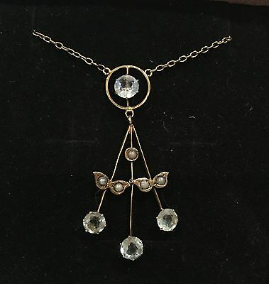 ANTIQUE VINTAGE VICTORIAN 9ct GOLD LAVALIER NECKLACE-BLUE TOPAZ-SEED PEARLS-9CT