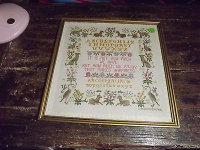 Charming Needlework Sampler L M Campion 1988 Framed No Reflective Glass 12X12I