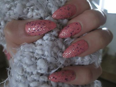 24 Full Cover pink Stiletto Hand Painted False Nails with glue and nail file
