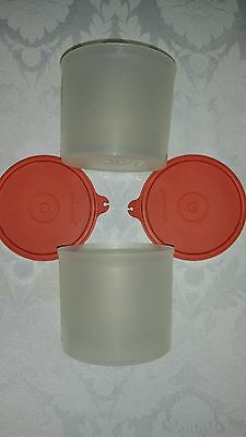 Vintage Tupperware 2 round storage containers, frosty-clear, burnt orange lids