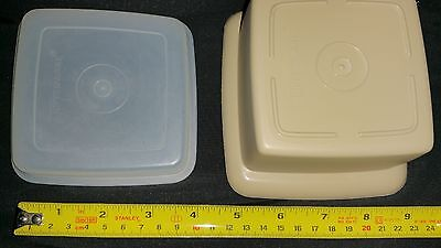 Vintage Tupperware square beige storage container with lid