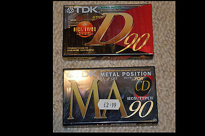 TDK MA90 metal and D90 cassette tapes