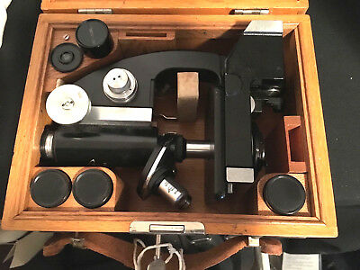 Rare! Wwii Tiyoda Field Microscope Model Mkr Dovetailed Wooden Case With Key!!