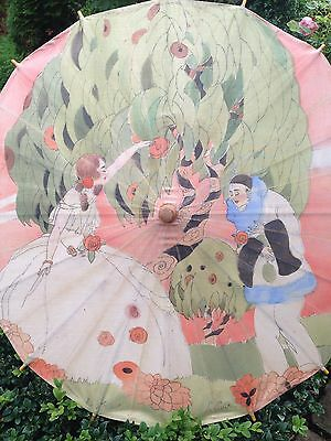 Gorgeous Rare 1920s Hand Painted Antique Parasol~ Lovely Display