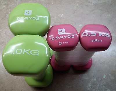 Domyos Hand Dumbbells 2x0.5Kg and 2 x 1.00 Kg. New Unused !