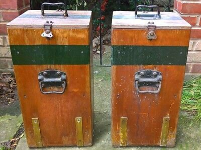 Ww1 2 Royal Army Military Ammo Wooden Pair Case Chest Box Trunk Industrial Table