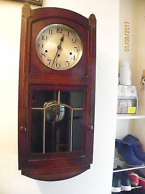 Large Vintage Haller wall clock Westminster chime bevelled glass with brass bead