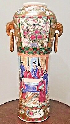 "19th C. Chinese Rose Medallion Porcelain Vase 16.5"" Tall w/ELEPHANT HEAD HANDLES"