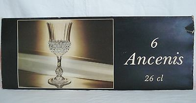 """6 Cristal D'Arques Ancenis Crystal 7 1/4"""" Water Goblet Glass Stems Unused Set"""