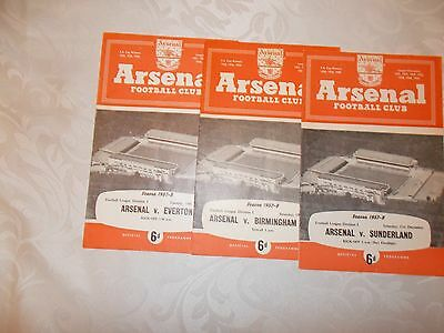 Arsenal football programme collection home games 1957 - 1958
