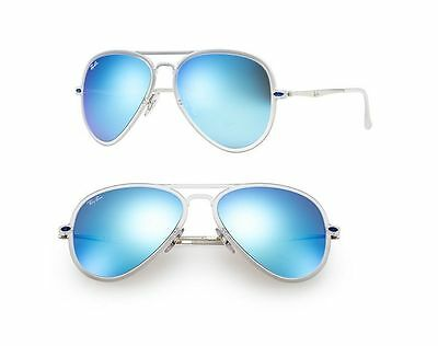 New Ray-Ban Sunglasses RB4211 646/55 Aviator Clear/Silver Blue Mirror 56mm Lens