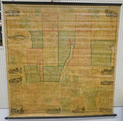 RARE 1859 Beers Dawson Wall Map of Ontario County, New York Lot 105