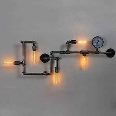 Steampunk metal pipe wall light for vintage design homes ( Bulbs Included)