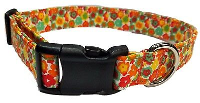 Orange Daisy Dog Collar puppy Red Yellow green Flower Hippie Retro cotton Fabric