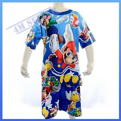 Boys Kids Super Mario Bros Summer Short Sleeve Pyjamas PJ Nightie Sleepwear Sz