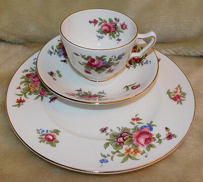 Staffordshire ROSE FLORAL Teacup & Saucer TRIO