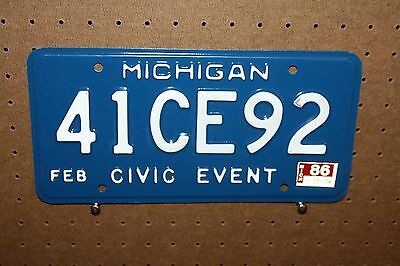 1986 - Michigan - 41Ce92 - Civic Event - License Plate - Never Mounted