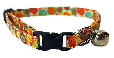 Orange Daisy Flower Cat or kitten Collar red yellow green Hippie Retro Cotton