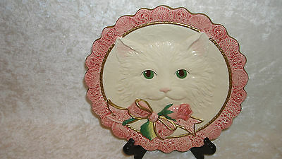 Fitz & Floyd Essentials White Kitten & Roses, Hors D'ouvres Plate, Wall Hanging