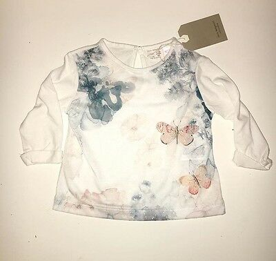 Zara Baby Girl Floral Watercolour Print Top, 9-12m, Brand New With Tags