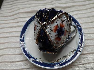 Blue/ white China Miniature  cup and saucer 1st Gold detail