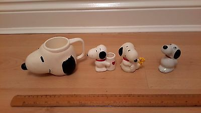 Snoopy head plastic mug by Applause and Snoopy ceramic figures
