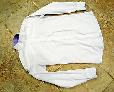 Kathryn Lily show shirt wrap snap collar white purple ladies 2-4
