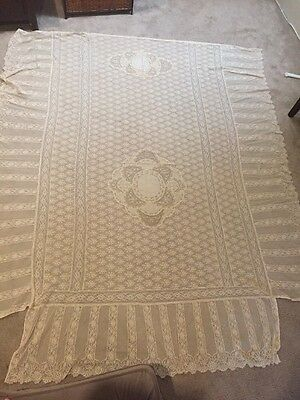 Gorgeous Antique Estate Lace Bed Spread Overlay Floral Twin Full + Pillow Covers