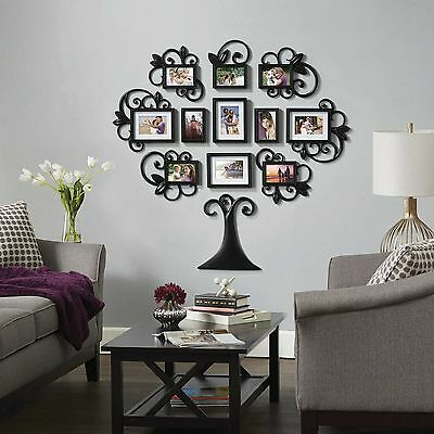 FAMILY TREE COLLAGE Photo Picture Frame Set Black Home Wall Art ...