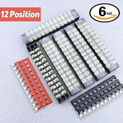 Hilitchi 12pcs 600V 15A 12 Position Double Row Screw Terminal Strip and 400V 10A