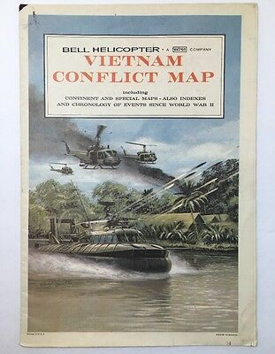 "Vintage Bell Helicopter Vietnam Conflict Map 29"" X 21"" Rare!"