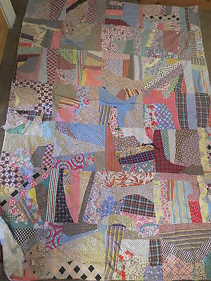 """Vintage Handmade LARGE Patchwork CRAZY QUILT Quilt 70 x 92"""" 1940S or 1950 FABRIC"""