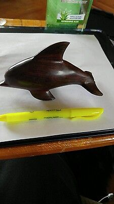 """Solid Wooden Carved Dolphin Figurine 6 """""""