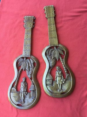 Vintage Retro Carved Timber Wall Art Hangings Tiki Bar Guitar Decorations ....