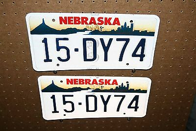 Pair - Nebraska - License Plates - 15 Dy74 - Lincoln County - Blue Lettering