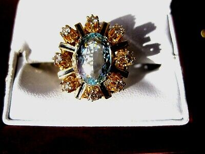 Vintage Estate 14K Yellow Gold Ring:fine Aquamarine,Diamonds & Enamel