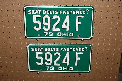 Pair - 1973 - Ohio - License Plates - 5924 F - Rp