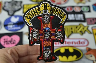 GUNS ROSES Cross Portrait CRUCIFIX Music Band Logo Patch Iron On Patches Unisex