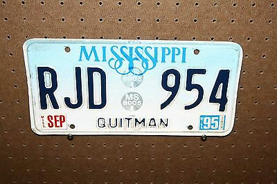 1995 - Mississippi - License Plate - Rjd 954 - Quitman County