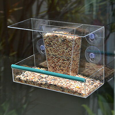 Acrylic Transparent Buffet Window Feeder with suction cups for wild garden birds