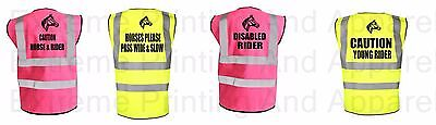 Equine Hi Viz Vis Think Horse Waistcoat Vest Equestrian Safety With Reflective P