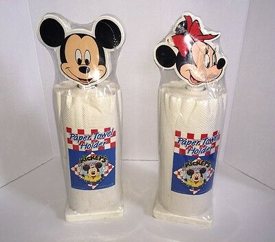 Vintage Mickey Mouse & Minnie Mouse Paper Towel Holders - Set Of 2 New! Sealed!