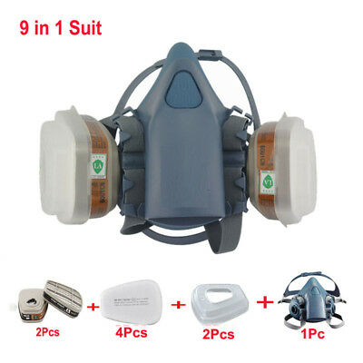 9 In1 Half Face Respirator Painting Spraying For 3M 7502 N95 6001CN Gas Mask