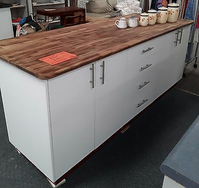 Laminate Timber Island Kitchen Bench with White Cabinets & Drawers - (L) 2200 mm